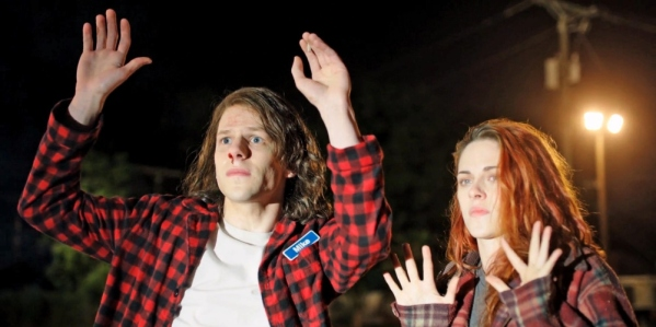 Mike (Jesse Eisenberg) and Phoebe (Kristen Stewart) are about to go on the run in the stoner-action-comedy