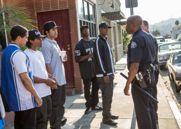 The boys of N.W.A. encounter some cops in F. Gary Gray's biopic